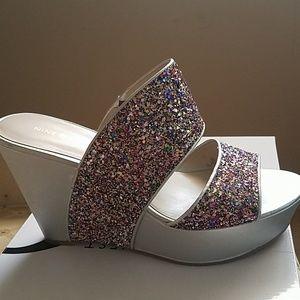Wedge heel sandals silver heel with multicolored t